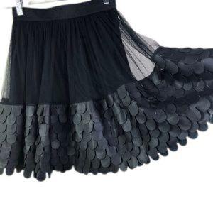 ARK & Co black mesh& faux leather mini skirt  SZ:M